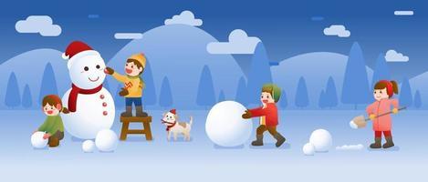 les enfants construisent un bonhomme de neige et jouent à la neige, à Noël, à l'hiver et au nouvel an vecteur