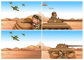 Ensemble de scènes d'armée et de guerre vecteur