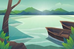 scène de nature forestière avec lac et bateau vecteur