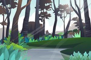 scène de forêt et étang naturel avec vecteur de montagne