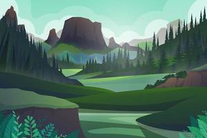 scène de nature forestière avec vecteur de montagne et de colline