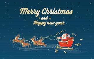 joyeux noël et bonne année avec le traîneau du père noël vecteur