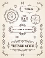 Ensemble de badges, cadres, étiquettes et bordures vintage rétro. vecteur