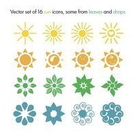 ensemble de vecteurs de 16 icônes de soleil vecteur