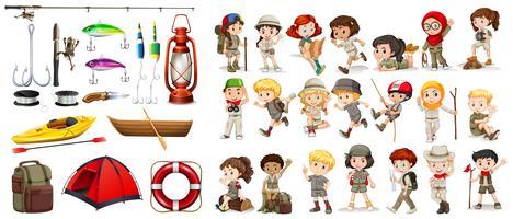 Enfants et matériel de camping vecteur