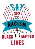 dites non au racisme, main dans la main - une affiche contre le racisme appelant à la lutte contre la discrimination raciale. illustration vectorielle stock.bright affiche avec lettrage vecteur