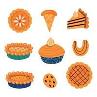 collection d'illustrations vectorielles de divers types de pâtisserie traditionnelle automnale sucrée avec des éléments de feuilles et de champignons pour la célébration de l'action de grâces isolée sur fond blanc vecteur