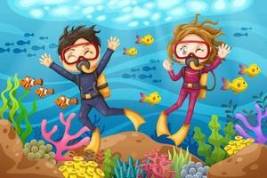 Jeune homme et femme plongeur plonge sous la mer vecteur