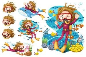 Ensemble de jeune femme plongée sous-marine plongée sous la mer vecteur