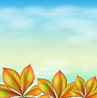 Un ciel bleu et les plantes à feuilles vecteur