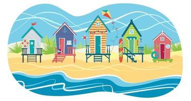 paysage d'une rangée de cabines de plage contre la mer. vacances d'été. illustration de plat de vecteur