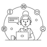 fille travaillant avec un ordinateur portable. icône d'une femme secrétaire, enseignante ou employée de bureau. illustration vectorielle de contour vecteur