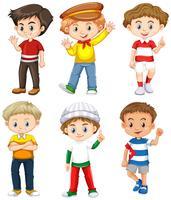 Six garçons avec un visage heureux vecteur