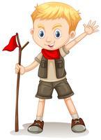 Un garçon mignon Scout sur fond blanc vecteur