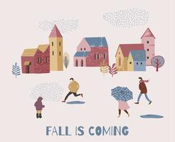 Illustration vectorielle de personnes sous la pluie. Humeur d'automne.