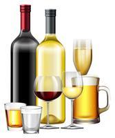Un ensemble de boisson alcoolisée vecteur