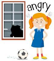 Fille en colère avec fenêtre cassée vecteur