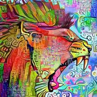 féroce comme un portrait de lion vecteur