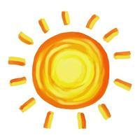 soleil jaune shabby chic peint vecteur