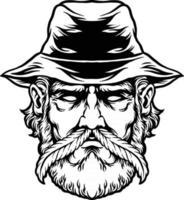 agriculteur de marijuana avec silhouette de moustache feuille de cannabis vecteur