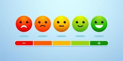 vecteur d'icône d'échelle d'émotion de rétroaction. concept d'examen des commentaires des clients en illustration vectorielle 3d. mesure révision avis approbation recommandation statut