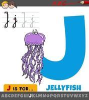 lettre j de l'alphabet avec personnage animal méduse de dessin animé vecteur