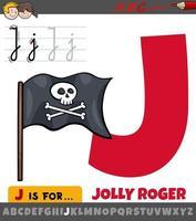 lettre j de l'alphabet avec le drapeau jolly roger de dessin animé vecteur