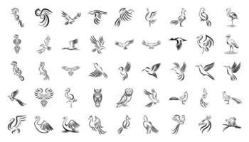 jeu d'icônes d'art en ligne d'oiseaux vecteur