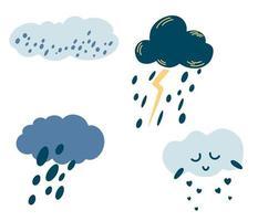 ensemble de nuages de dessins animés. icônes météo mignonnes. nuages avec pluie, grêle, neige, éclairs et visage mignon. parfait pour l'impression de bannières de carte de signe de logo de tissu conception de mur d'enfants. collection de vecteurs vecteur