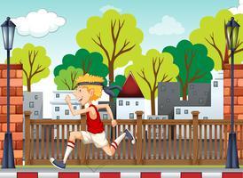 Un jeune homme s'entraînant pour le marathon vecteur