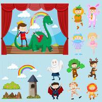 Scènes de scène avec différents personnages