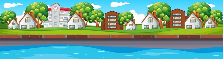 Scène sans couture avec maisons le long de la rivière vecteur