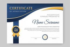 conception de certificat élégant en en-tête blanc et bleu vecteur