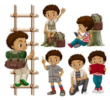 Ensemble de garçons bronzés vecteur