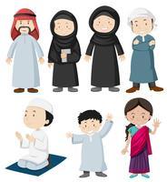 Peuple musulman en costume traditionnel