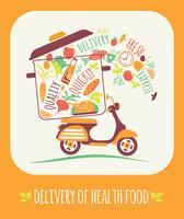 Illustration vectorielle de la livraison d'un aliment sain. vecteur