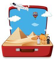 Scène du désert dans la valise vecteur