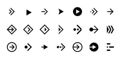 Faites glisser la flèche vers la droite jeu d'icônes de bouton noir. pictogramme de curseur de défilement d'application et de réseau social pour la conception Web ou l'application. vecteur navigation prochaine direction pointeur ui interface collection eps illustration