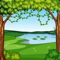 Un beau paysage de jungle vecteur