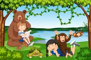 Scène d'enfants avec des animaux sauvages
