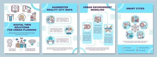 solutions de jumeaux numériques pour le modèle de brochure d'urbanisme. flyer, brochure, dépliant imprimé, conception de la couverture avec des icônes linéaires. mises en page vectorielles pour présentation, rapports annuels, pages de publicité vecteur