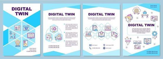 modèle de brochure de jumeaux numériques. technologies futuristes. flyer, brochure, dépliant imprimé, conception de la couverture avec des icônes linéaires. mises en page vectorielles pour présentation, rapports annuels, pages de publicité vecteur