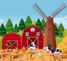 Scène de ferme avec des animaux