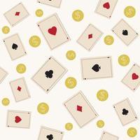 modèle de cartes à jouer avec des pièces d'or sur fond blanc, illustration vectorielle de couleur vecteur