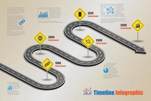 modèle d'infographie de chronologie de feuille de route d'entreprise avec panneau de signalisation conçu pour un jalon abstrait technologie de processus de diagramme moderne marketing numérique données de présentation graphique illustration vectorielle vecteur