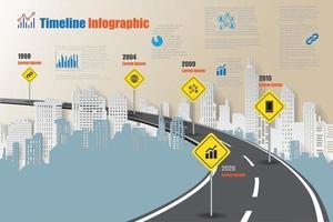 feuille de route d'entreprise chronologie infographie concepts d'autoroute conçus pour le modèle de fond abstrait diagramme de jalon technologie de processus numérique marketing données présentation graphique illustration vectorielle vecteur
