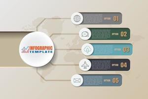 Infographie de la chronologie de la feuille de route de l'entreprise avec 5 étapes modernes conçues pour les éléments d'arrière-plan diagramme processus de planification pages Web flux de travail graphique de présentation des données de la technologie numérique. illustration vectorielle vecteur