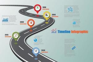 Feuille de route d'entreprise chronologie icônes infographiques conçues pour l'arrière-plan abstrait modèle élément de jalon diagramme moderne processus technologie numérique marketing données présentation graphique illustration vectorielle vecteur
