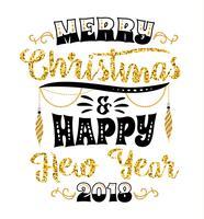 Motifs de lettrage de Noël et du nouvel an. Éléments vectoriels vecteur