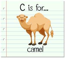 Flashcard lettre C est pour camel vecteur